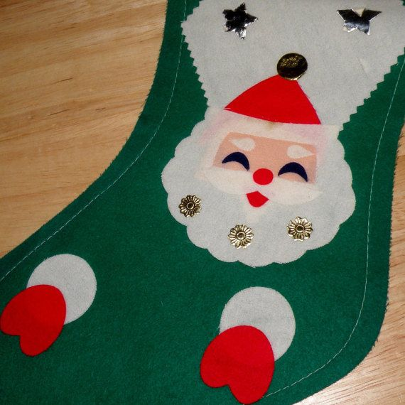 Vintage Green Felt Christmas Stocking by vintageholidaymagic