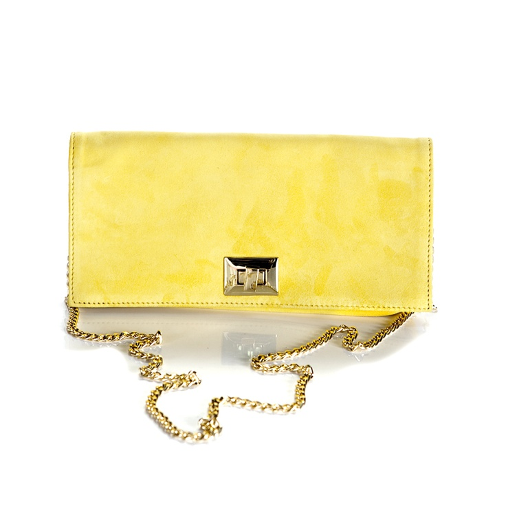 Cartera de mano en ante amarillo by SHOES FOR HER