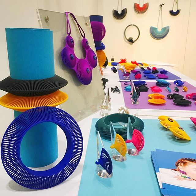 Only an hour left @ny_now what a great show thanks to everyone that stopped by. . . #nynow2018#nynowhandmade#3dprintedjewelry#colorfuljewelry