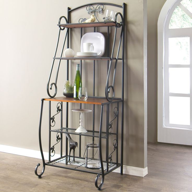 Baxton Studio Pomona High Wood and Metal Transitional Baker's Rack