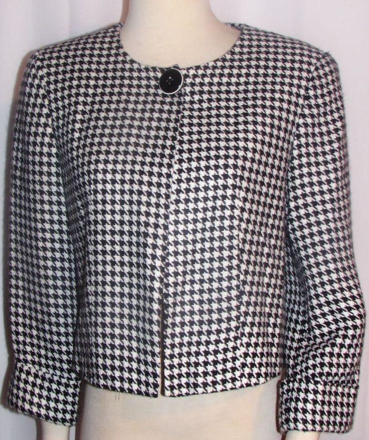 Womens Ladies LARRY LEVINE Black & White Houndstooth Lined Short Dress Jacket M  #LarryLevine #DressJacket