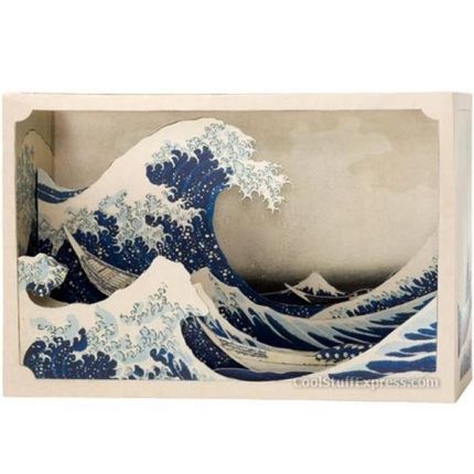 """The great wave"" - Tatebanko, diorama i papper"