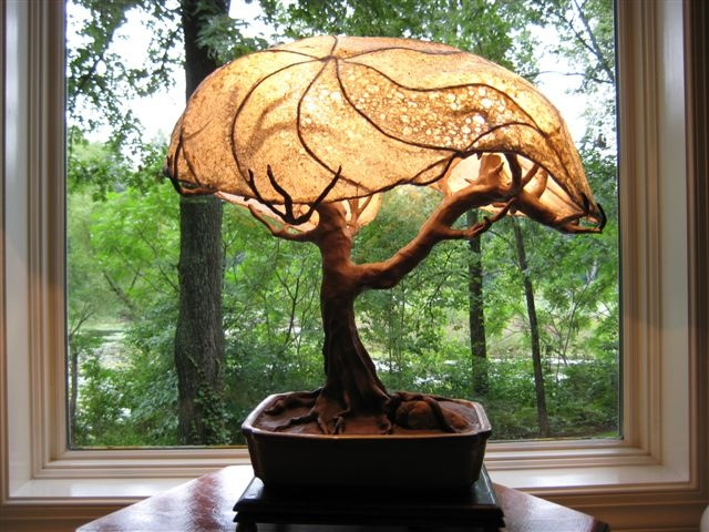Sculpted Metal Wire Shade Base With Handmade Paper Used