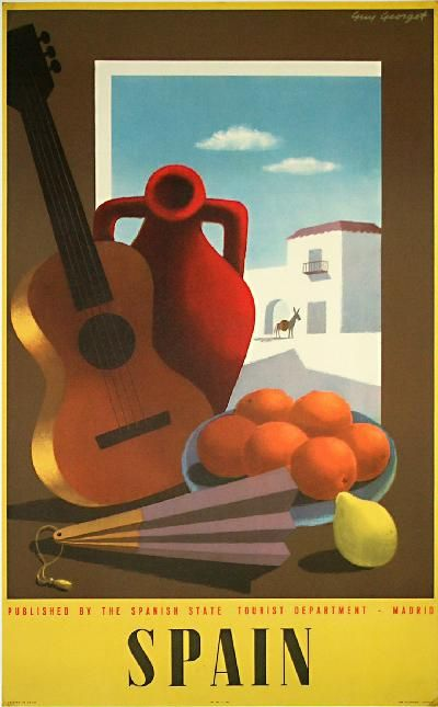 Spain travel poster, 1950, Paul Miracovici. http://www.costatropicalevents.com/en/costa-tropical-events/andalusia/welcome.html