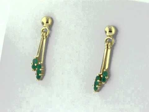 Emerald dangle earrings in 18K yellow gold E-CUC-035 by www.GreenInGold.com #emeralds #earrings