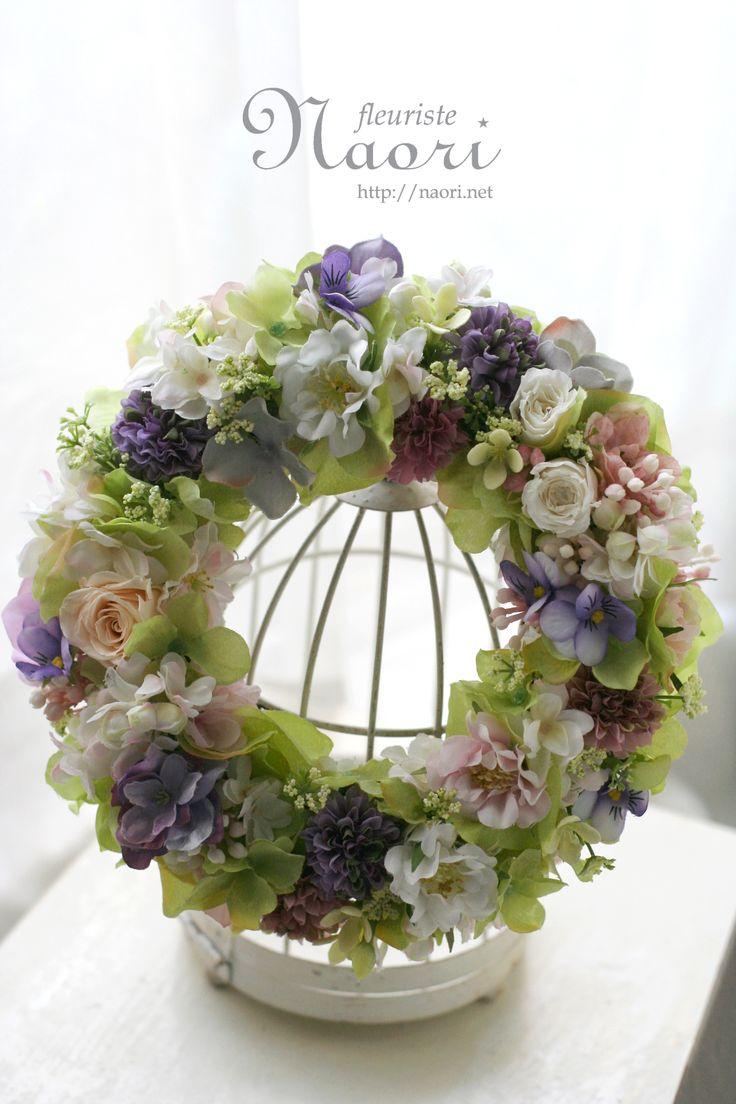 紫陽花とローズ、ビオラのリース Wreath