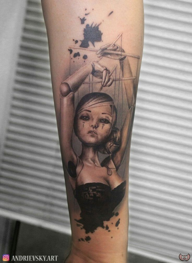 Тату, марионетка, тату марионетка, tattoo, tattoo marionette, marionette, black and grey, blackandgrey, realisticktattoo