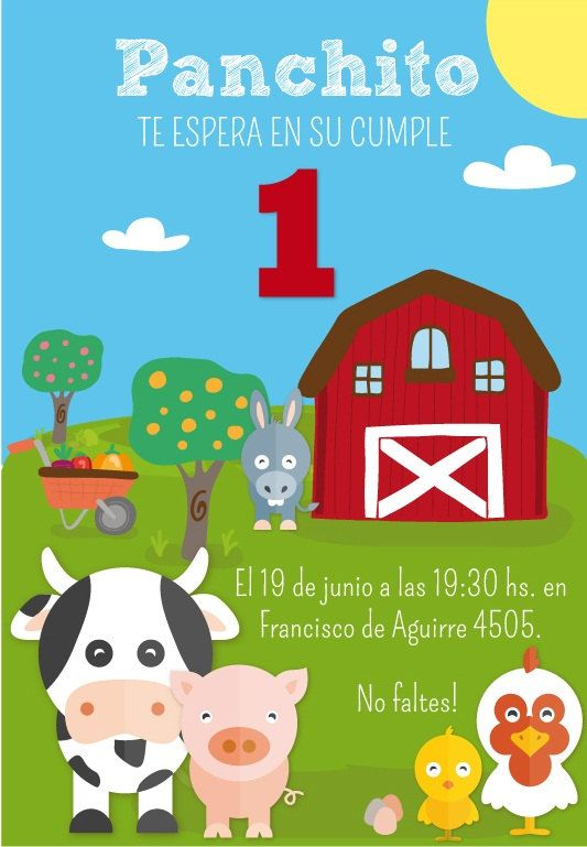 Kit imprimible de cumpleaños Animales de Granja. por CumpleKits