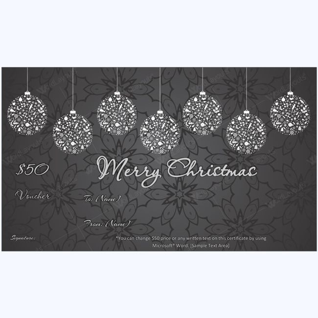 Hanging Christmas Balls Gift Certificate Template #christmas #gift #certificate #christmascard #card