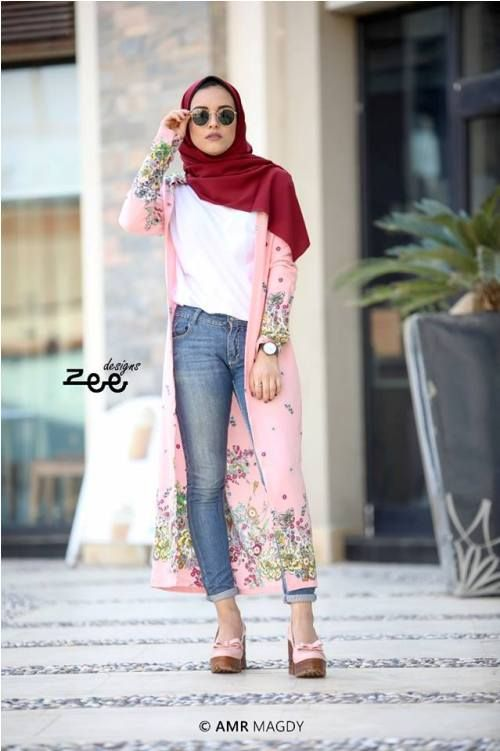 2b6427879b04 pink floral cardigan with jeans-Hijab style summer 2018 – Just Trendy Girls