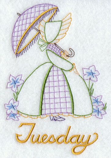 Umbrella Girl on Tuesday - 	Light-stitching and lovely, this umbrella girl day of the week design is perfect for a days of the week towel set!