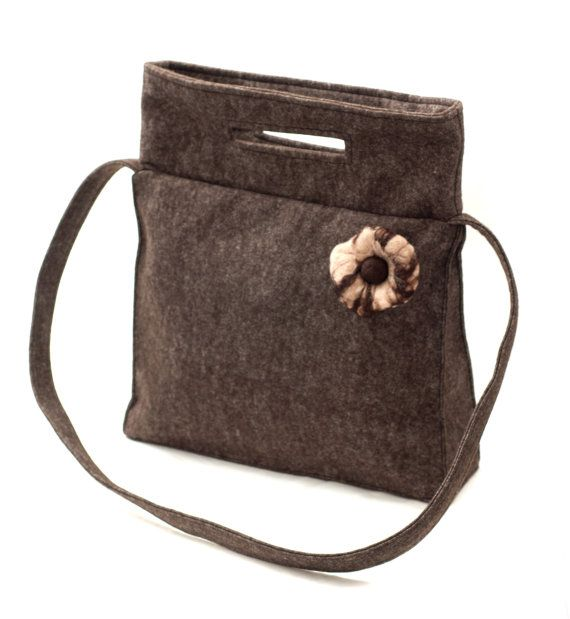 Brown felt bag made of soft felt with beige wet felted flower by Anardeko