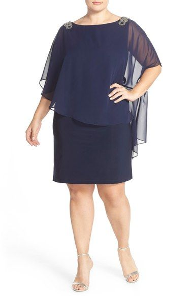 Xscape Embellished Chiffon Overlay Jersey Dress (Plus Size) available at…