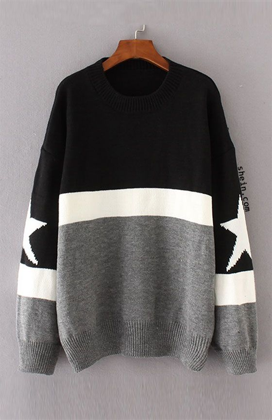 Star Detail Color Block Sweater