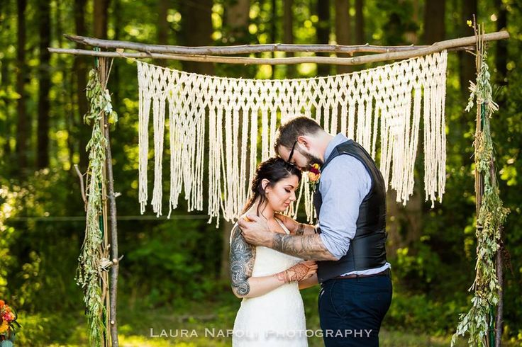 Lovely Yarn Macrame Altar Hanging for Rustic Outdoor Wedding Ceremony Decor