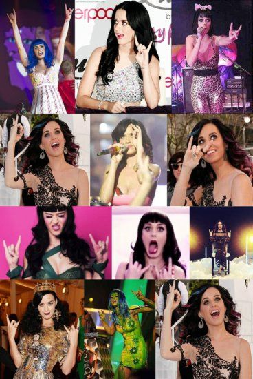 Katy Perry devil hand symbol - under MIND CONTROL PROGRAMMING by occultic CIA/Illuminati elite freemasons - nazi based slavery programming