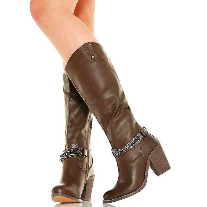 Kozaki - Modne Czekoladowe Kowbojki - Łańcuchy - www.BUU.pl #damskie #kowbojki #buty #na #obcasie