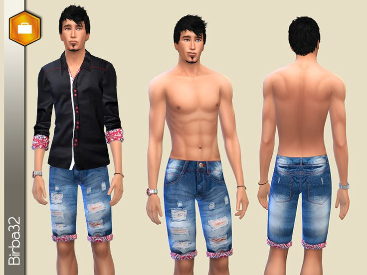 Bermuda shorts in denim with red cloth inserts. With bump map.  Found in TSR Category 'Sims 4 Male Everyday'