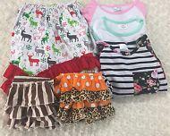 Lot of 6 Girls Ruffle Pants, Graphic Tee, High/Low Long Sleeve Shirt Size 4T
