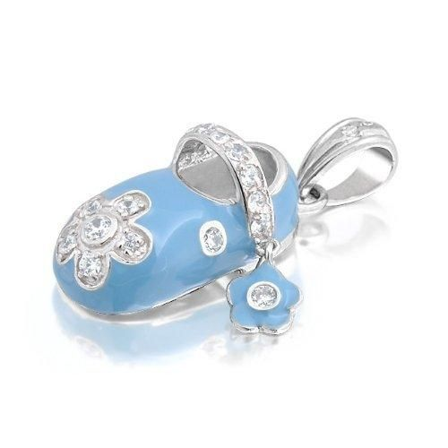 Bling Jewelry Baby Blue Enamel CZ Flower Baby Shoe Charm Pendant Sterling Silver