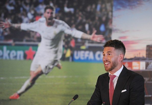 Sergio Ramos of Real Madrid smiles during a press conference to announce his new five-year contract with Real Madrid at the Santiago Bernabeu stadium on August 17, 2015 in Madrid, Spain