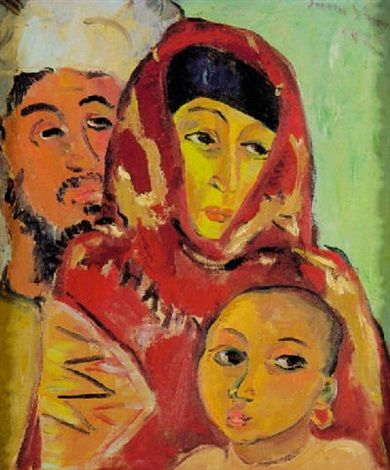 An Arab couple with a child by Irma Stern