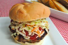 Mouthwatering Meatloaf Burgers   ~~~   I know a lot of folks who make meatloaf just so they can have sandwiches the next day! I'm a fan of both but when I find myself hankering for a tender hunk of meatloaf on a bun, I just cut out the middle man and make these burgers. With all the flavor and texture of tender meatloaf, they hit the spot every time.