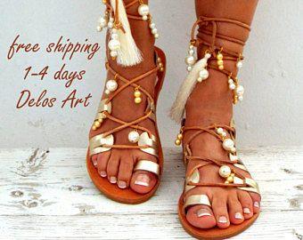 Frangia avorio di Afrodite nuziale piatto sandali, sandali da Spiaggia White Sposa, oro perla scarpe in vera pelle di sandali, sandali greco, gladiatore