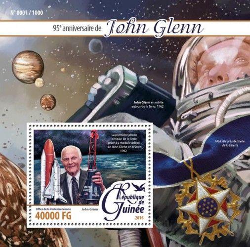 GU16112b John Glenn (95th anniversary of John Glenn, the first orbital picture of the earth taken from John Glenn's orbital module in February 1962)