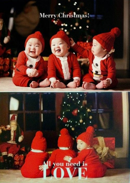 Actor Song Il Kook sends fans a Christmas and New Year's greeting with photos of his triplets