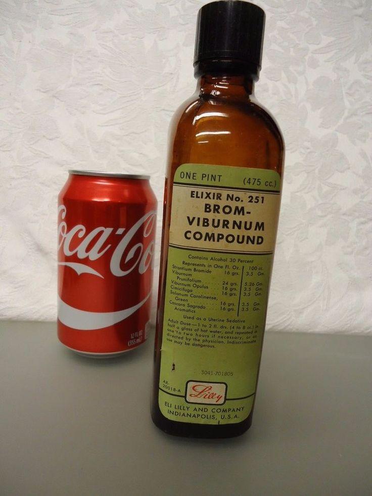 Eli Lilly uterine sedative Brom-Viburnum Empty medicine Bottle