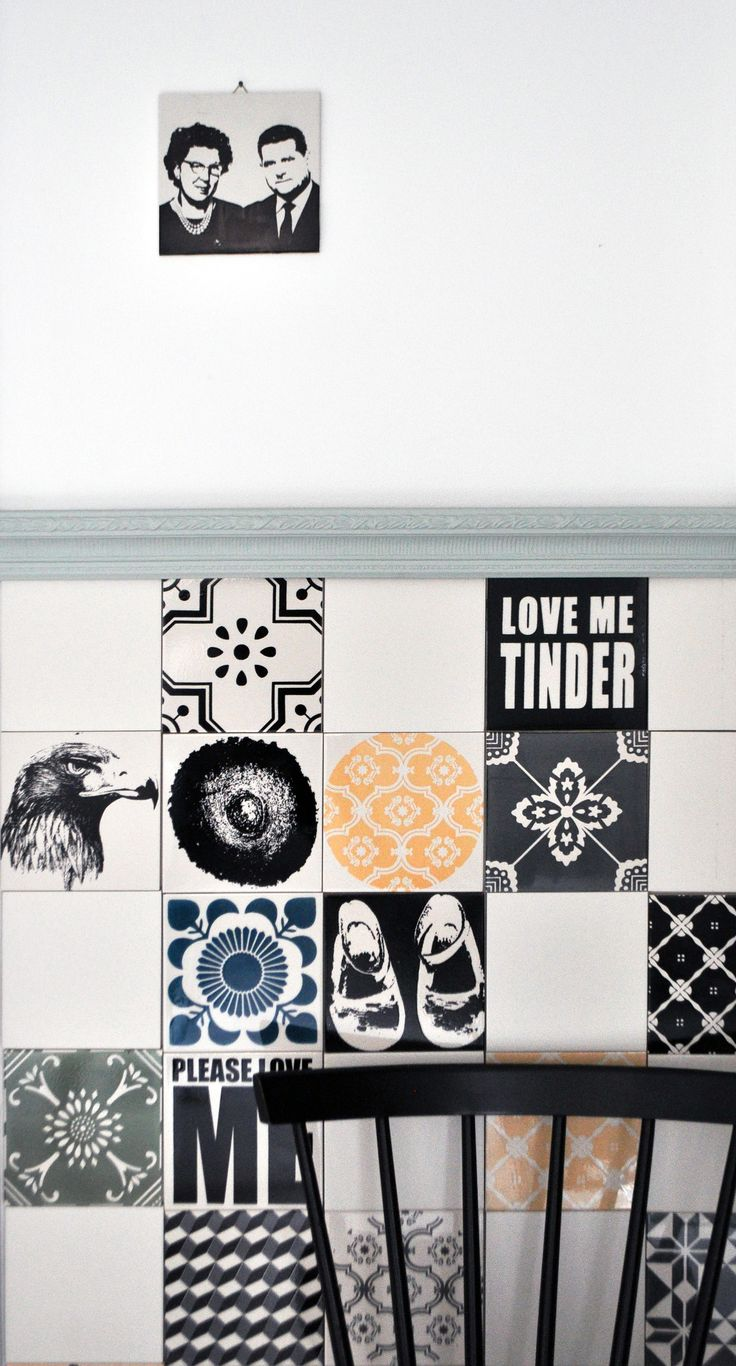 //OLD LOVE// Hand printed porcelain tiles. Wall decor, interior.