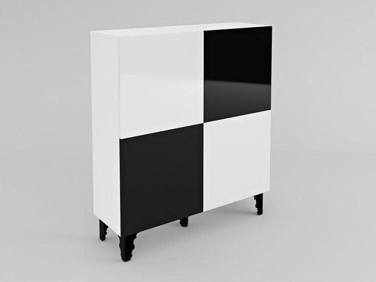 komoda szachownica A5 #komoda #szafka #szafa #minimalizm #szachownica #glamour #retro #black #white #czarny #biały #meble #nowość #new #czarnobiały #lakier #połysk #shine