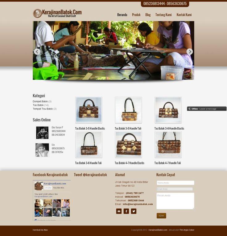 Website toko online yang menampilkan katalog produk tanpa shoppingsart - Kerajinan Batok. kerajinanbatok.com