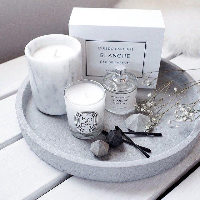 Concrete tray   Byredo perfume   Diptyque candle   Concrete diamonds