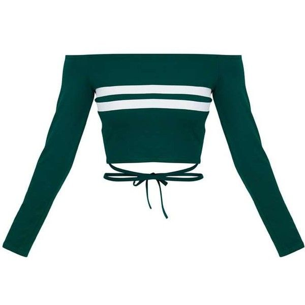Emerald Green Bardot Stripe Harness Detail Crop Top (€14) ❤ liked on Polyvore featuring tops, cut-out crop tops, stripe top, striped top, green top and crop tops