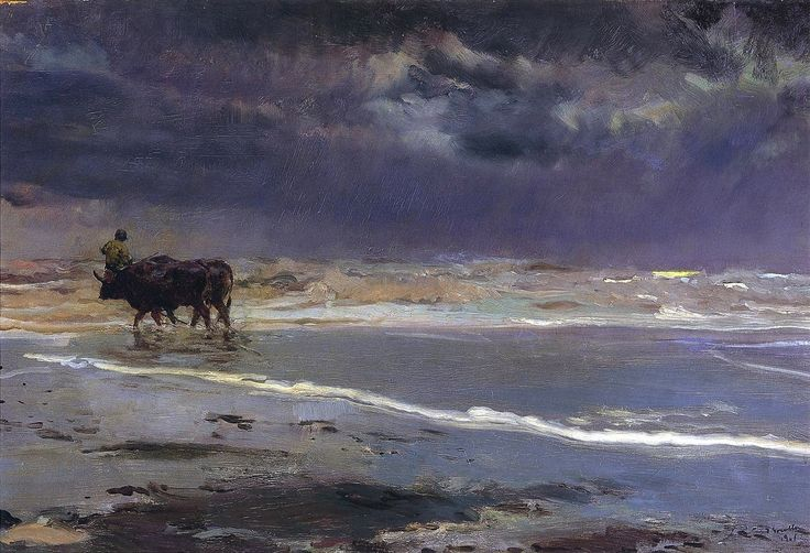 Joaquin Sorolla (1863-1923) Gray day on Valencia Beach, (1901). Oil on canvas, 64 x 95 cm