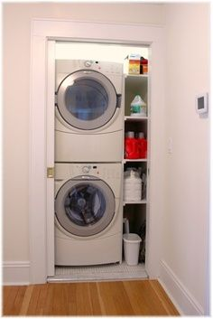 Stack shelves in Laundry/Bathroom