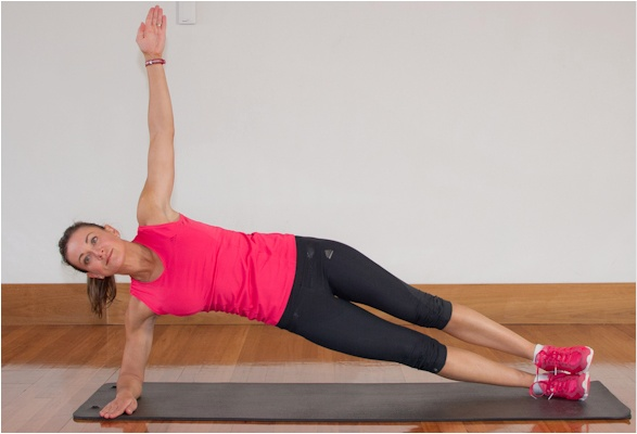 Side plank to tighten your side muscles and shrink your waistline.