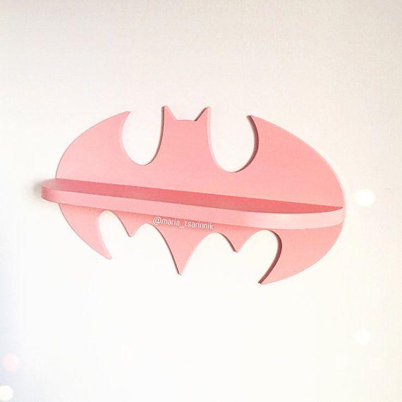 Wooden shelf Batman pink by Purplepollen on Etsy