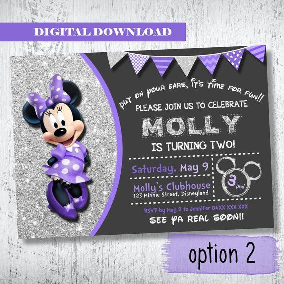 Purple Silver Glitter Minnie Mouse Invitation.Minnie by WBevents