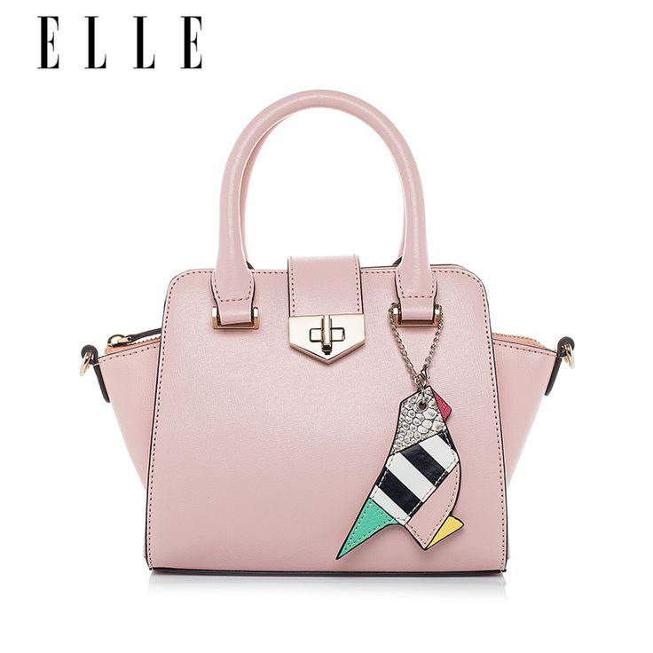 ELLE趣味挂件小包手提包60108十字纹牛皮单肩包斜挎包时尚包包女-tmall.com天猫