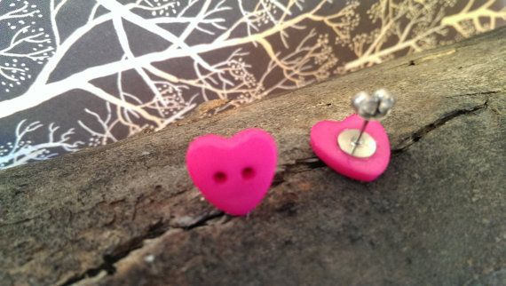 Pink Heart Button Stud Earrings on Etsy, $8.50 AUD