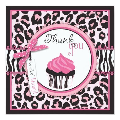 Wild Cheetah Print & Cupcake Thank You Card