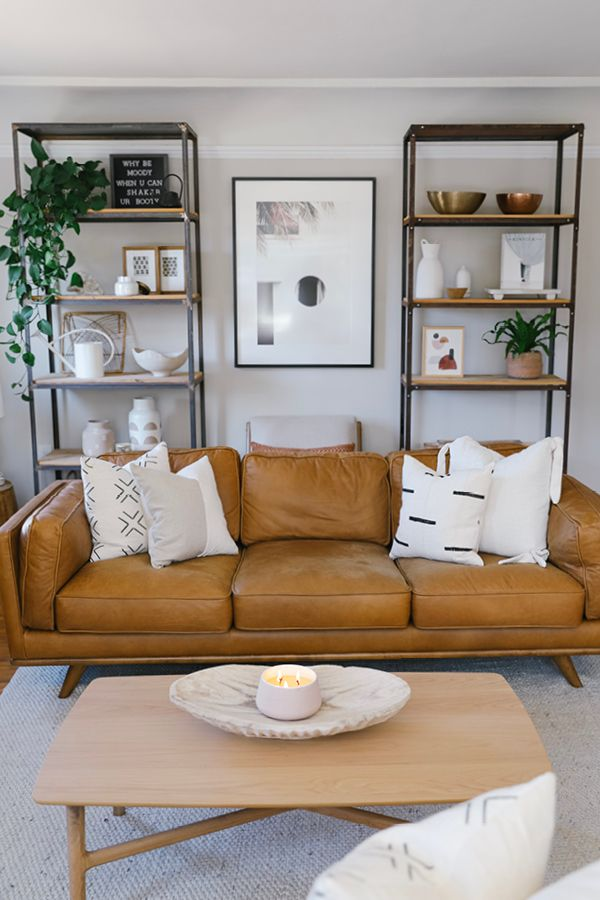 Sumptuous Charme Tan Leather And Overstuffed Down Filled Cushions Make The Timber S Leather Couches Living Room Tan Leather Couch Living Room Living Room Inspo