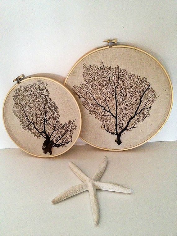Framed  natural sea fan coral hand-stiched and stretched on wood embroidery hoop i- Perfect summer gift. Beach cottage chic decor-