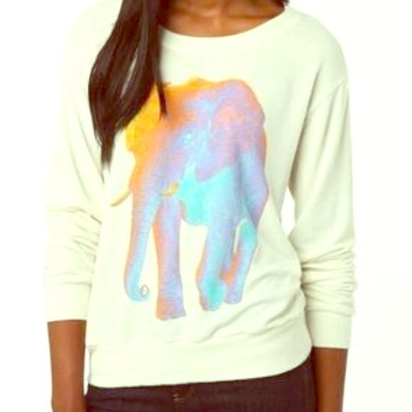 Psychedelic Elephant sweater😍🐘🌀 Light weight, comfortable rainbow elephant sweater. Size small. Worn only once!! Perfect condition. Make an offer!💰💓 Truly madly deeply Sweaters Crew & Scoop Necks