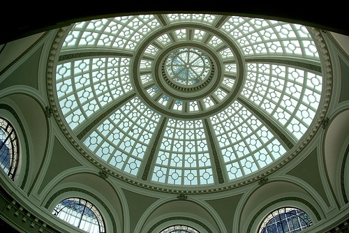 Westfield Shopping Mall Downtown San Francisco, under the Dome an historic artifact for the city, survived the earthquake of 1906, was restored