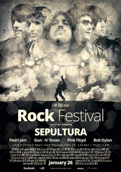 rock flyer poster 3 music pinterest gig poster flyer template
