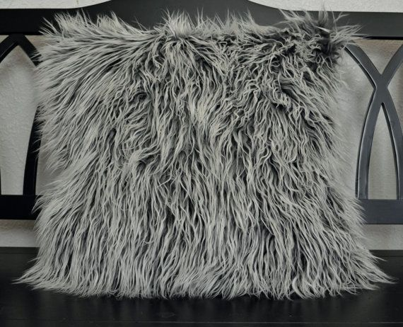 faux fur pillow gray faux fur pillow by